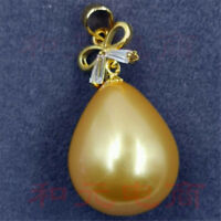 15-18MM HUGE baroque shell pearl Gold pendant 18K Chic butterfly party natural