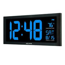 AcuRite Large LED Clock 18 in. Indoor Temperature Blue Display Clear Visibility