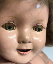 Antique Open Mouth 22� Sleepy Eye Composition Doll Creepy Cracks Wear