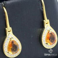 Authentic Pear Citrine Earrings Women Engagement Jewelry 925 Sterling Silver