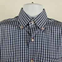 Robert Talbott Estate Mens Blue Check Plaid L/S Dress Button Shirt Sz 15 1/2 -39
