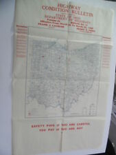 "1946 Ohio Department of Highways Road Condition Bulletin Map 38"" x 24"" Vintage"