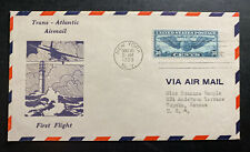 1939 New York USA First Flight Airmail Cover FFC To Topeka Trans Atlantic #C24