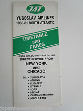 Yugoslav Airlines JAT Jugoslovenski Aerotransport 1980 Airline Timetable & fares