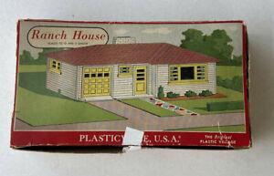 Vintage Plasticville Ranch House 1603 100 w/ Box - Turquoise, Grey & White