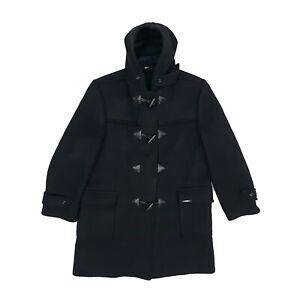 Vintage 60s/70s Stark Wool Blend Duffle Coat/Coat XL Black Hood Made in England