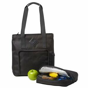 BUILT NY Lunchpack Collection Verdi Tote & Removable Insulated Lunch Bag Black