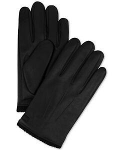G3 Calvin Klein Black Faux Leather Men's Triple Point Knit-Cuff Gloves