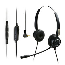 AGPtek Hands-free 2.5mm Binaural Telephone Headset with Noise Canceling Mic Mute