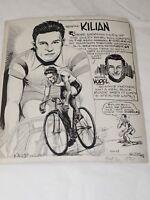 original 1936 pen sketch NEWSPAPER ART BY PHIL BERUBE of GUSTAV KILIAN 7.5X 8.5
