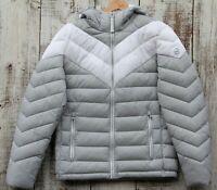 MICHAEL KORS NEW White Gray Puffer Jacket Hooded Logo Packable Men's Size S