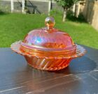 Vintage Carnival Glass Sowerby Diamond and Pinwheel Butter Dish Marigold