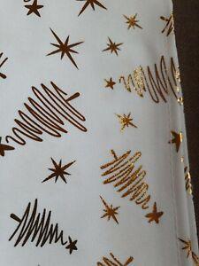 Tischläufer Weihnachten weiss gold 32 x 150 cm Tannenbaum Sterne Tischdecke