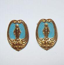Vtg Miraculous Mary Medal Shoe Clip Pocket Pin Book Mark Religious Blue Enamel