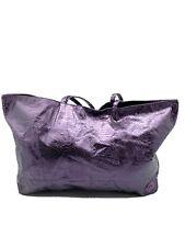 Large Handbag Tote Shopper Beach Bag Shoulder Bag Metallic Snake Foil Purple