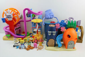 Spongebob Squarepants PLAYSET LOT- Krusty Krab-Chum Bucket-Glove World & Figures