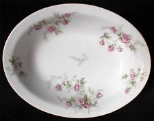 """Vintage BERNARDAUD LIMOGES France Pink ROSES BOUQUET 9 1/4"""" Oval Bowl"""