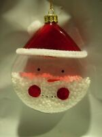 LARGE GLASS RED CLEAR SNOW SANTA CLAUS CHRISTMAS TREE ORNAMENT HOLIDAY DECOR