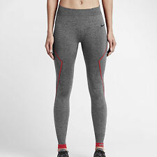 Nike Pro Hyperwarm Limitless Tights - LARGE - 704004-032 Heather Warm Grey Red