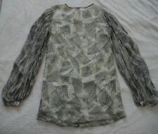 WINTER KATE 100% Vtg Silk DIXIE NRD-36 Keyhole Tunic Dress Ivory Black Draft  M