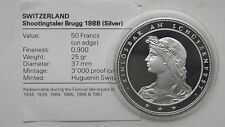 1988 Switzerland 50 Francs Shooting Thaler Brugg Silver Proof coin w/ CoA