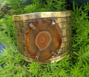 Orange Agate Slice Chunky Bohemian Style One-off Woven Brass Cuff Bangle .A47a