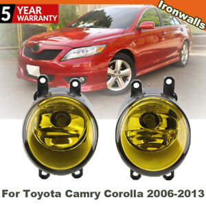 2Pcs Front LED Fog Light Yellow w/Bulbs For Toyota Camry Corolla RAV4 2006-2013