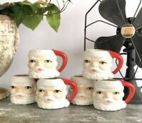 Vintage SANTA Mugs MATCHING LOT OF 6 One is Cracked