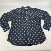 Tommy Bahama Silk Long Sleeve Pineapple Button Down Camp Shirt Large Men's