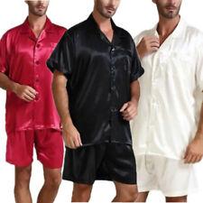 Men's Smooth Silk Satin Short + Shirts Pajamas Sleepwear Set Loungewear S~5XL
