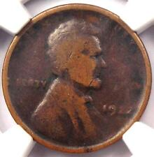 """1922 No D Strong Reverse Lincoln Wheat Cent 1C - NGC VG10 - Rare """"Plain"""" Penny"""