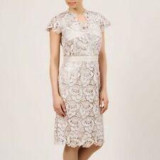 New Jacques vert dress 16 18 Lace bead Corded Mock Wrap Cornelia Champagne £199