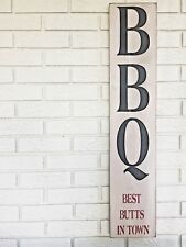 BBQ Wood Sign, Best Butts In Town, Man Cave Sign, Barbecue Art, Outdoor Grill