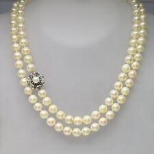 Perlenkette Collier mit Saphir und Zuchtperlen Besatz in  585/14K Weißgold