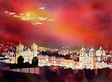 Churches on Plaza de Armas- Cusco, Peru (reproduction). Watercolor painting