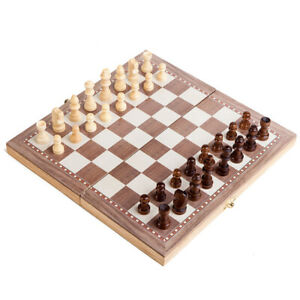 """Hand Crafted Wooden Portable Folding 15"""" Board Chessboard Game Chess Set 30 x 30"""