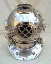 "Chrome 18"" Inch Diving Helmet US Navy Mark V Scuba Vintage Divers Helmet Replica"