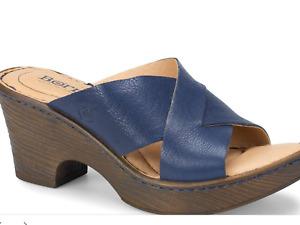 Women's Born Sandals Coney Navy Blue Heel Leather Slide On F23734 Sz 10 NIB