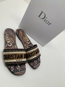 Christian Dior Dway Animals Blue Orange White Logo Slide Mule Flat Sandal 37