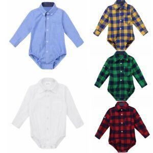 Baby Boys Jumpsuit Long Sleeves Plaid Bodysuit Shirt Formal Party Romper Costume