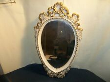 Vintage French Provincial Plaster White Flowers w/ Gold Ribbon Wall Mirror