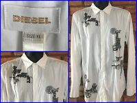 Early Diesel Engine Print L/S Btn Front 2 Ply Dress Shirt Mens XL PRIMO Luxury