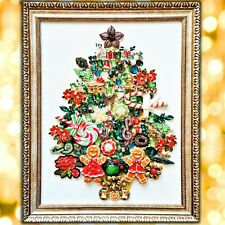 Jewelry Christmas Tree Framed wall art Nursery Original collage, Vintage gift