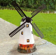 More details for solar powered led motion & light traditional windmill garden decoration ornament