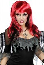 PERRUQUE femme Noir/Rouge Déguisement Halloween Sorcière Démon NEUF