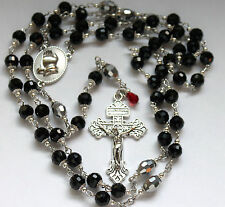 SILVER OR  BLACK CRYSTAL PATER BEADS PRAYING HANDS ROSARY'S YOU PICK + FREE GIFT