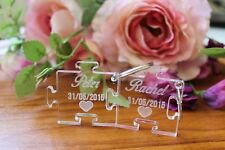 Personalised Wedding Engraved Puzzle Piece Keyring Set Wedding Gift Present