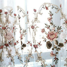 European Floral Embroidered Sheer Curtain Rustic Style Curtain Tulle 1 Panel