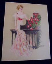 Maud Stumm, Lady, Piano, Roses, Salesman Sample Large Calendar Print Vintage