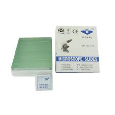 72 Plain Blank Glass Microscope Slides & Box Coverslips